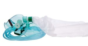 High concentration oxygen mask with valves and tubing