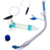 Left-sided double-lumen bronchial tube with Carlens connector and suction catheters