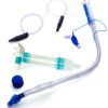 Right-sided double-lumen bronchial tube with Carlens connector and suction catheters
